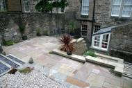 Edinburgh gardeners - overview of Indian flagstone patio.