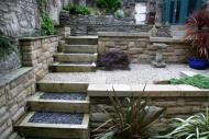 Edinburgh garden designers - note multi level terracing and retaining walls.