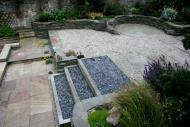Edinburgh garden designers - note top view of terracing / stone dyke walling.