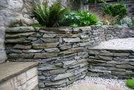 Edinburgh landscapers - close up of stone dyke walling.